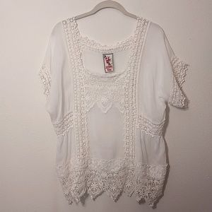 Johnny Was | White Sheer Crochet Lace Boho Top XL